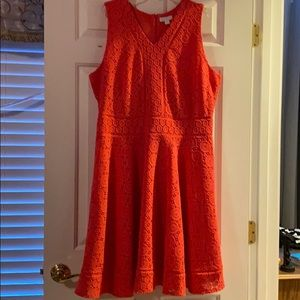Coral sleeveless dress lace layer over solid